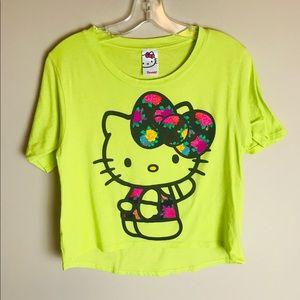 Hello Kitty Crop Top Neon Green T-shirt Large